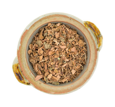 Witch hazel bark in a small bowl