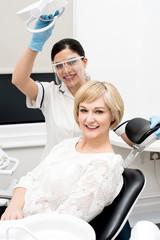 Woman patient sitting at stomatology clinic