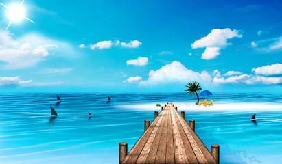 weißer Strand mit Steg und Haien