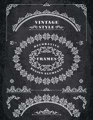 Set of Retro Vintage Frames and Borders.  Chalk Board Background