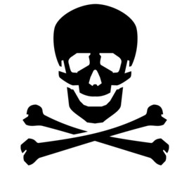 Jolly Roger vector logo design template. human skull or