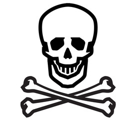 Jolly Roger vector logo design template. human skull, danger or