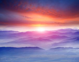 Aluminium Prints Mountains sunset in mountains