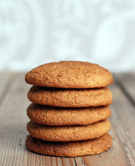 Fresh oatmeal cookies in a pile