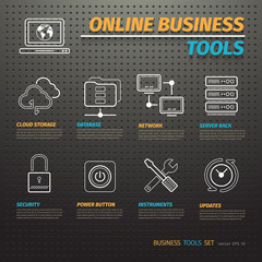 Online Business Tools on Dark Pegboard