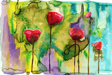 Keuken foto achterwand Schilderkunstige Inspiratie watercolor illustration depicting spring flowers in the meadow