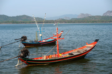 Traditional fishing long tailed boat in Koh Phitak island.