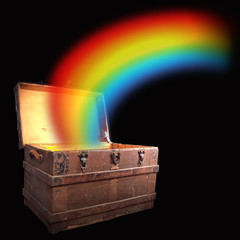 treasure chest with rainbow