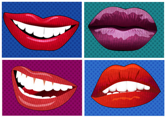 illustration set of icons in pop art style lips