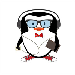 Funny hipster penguin with glasses butterfly tie, gumshoes, phone and player illustration.