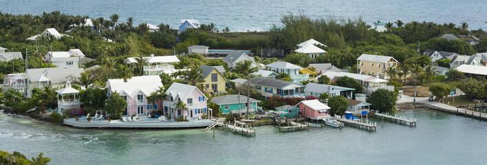 aerial panorama of hopetown, bahamas