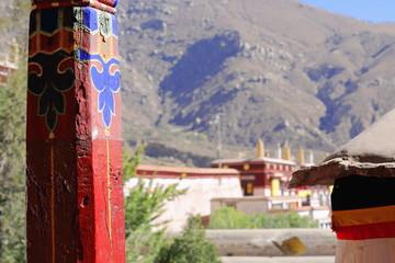 Wooden pillar. Drepung monastery-Tibet. 1218