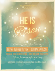 He is Risen Easter Sunrise Service Flyer or poster template