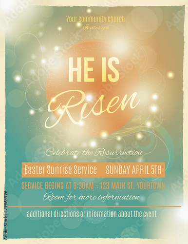 He Is Risen Easter Sunrise Service Flyer Or Poster Template Stock