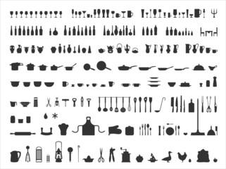 Küche Icons Silhouetten Set
