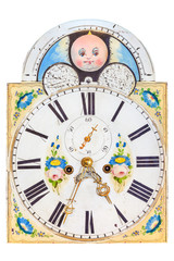 Medieval clock face with painting of baby