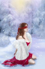 beautiful woman blindfold in  red dress in  winter