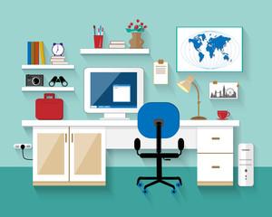 Flat modern design vector illustration of workplace in room