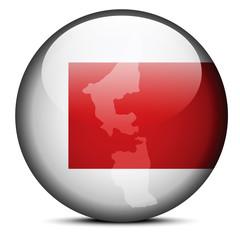 Map on flag button of United Arab Emirates, Ras al-Khaimah Emira
