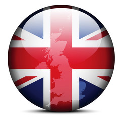 Map on flag button - United Kingdom of Great Britain and Norther