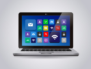 Realistic glossy tablet PC Isolated with apps icons