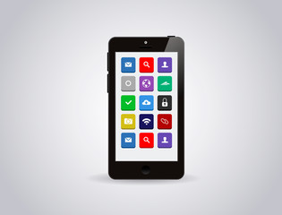 Realistic glossy mobile smart phone Isolated with apps icons
