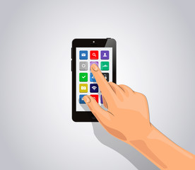 Realistic smart phone Isolated with apps icons and touch hand.