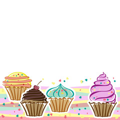 Cards with cupcakes in the vector