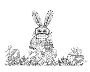 Easter bunny and eggs, background. Sketch