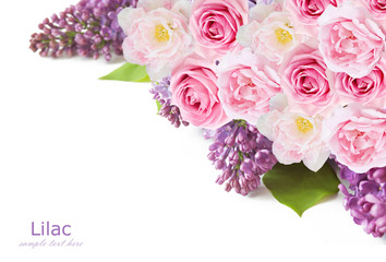Lilac,tulip and rose flowers background