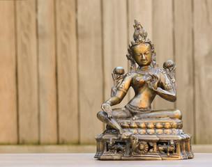 Indian bronze statue representing Tara, compassion goddess