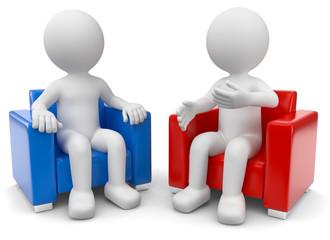 zwei 3d Männchen diskutieren
