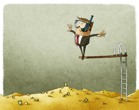 businessman jumps into a big pile of money