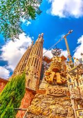 The famous Sagrada Familia big church in Barcelona, Spain.