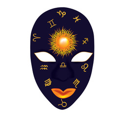 mask monthly zodiac with the sun