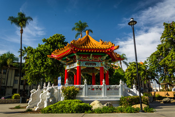 The Chinese Pavilion, in downtown Riverside, California. Wall mural