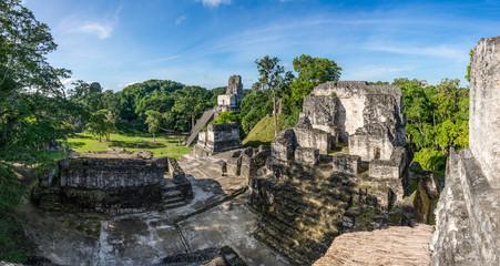 Panorama of Mayan ruins at Tikal, National Park. Traveling guate