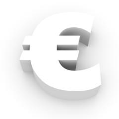 Euro symbol on white background.
