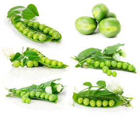 set of green peas isolated on the white background