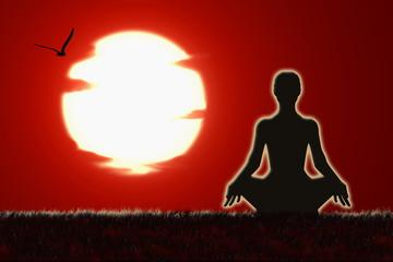Meditación, sol, escribir texto, cielo rojo, amanecer