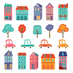 Printed kitchen splashbacks Cartoon cars Colorful cute city collection - cars, houses and trees