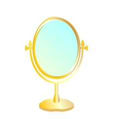 Realistic illustration of gold mirror