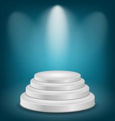 Empty white podium with light