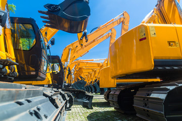 Shovel excavator on Asian machinery  rental company Wall mural
