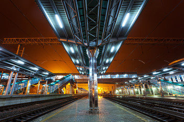 Railway station at night