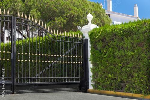edle einfahrt zaun und hecke stockfotos und lizenzfreie bilder auf bild 79986333. Black Bedroom Furniture Sets. Home Design Ideas