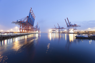 Deutschland, Hamburg, Burchardkai, Blick auf Containerschiff im Hafen