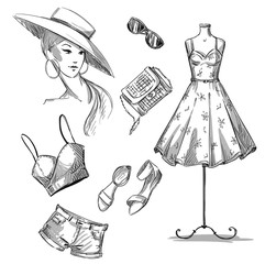 fashion . collection of summer clothing and accessories