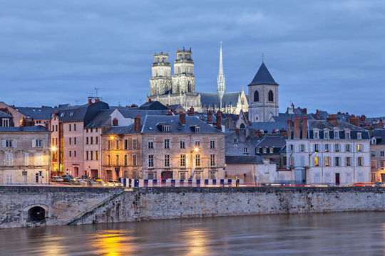 Embankment of Loire and Orleans Cathedral