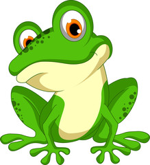 funny Green frog cartoon sitting